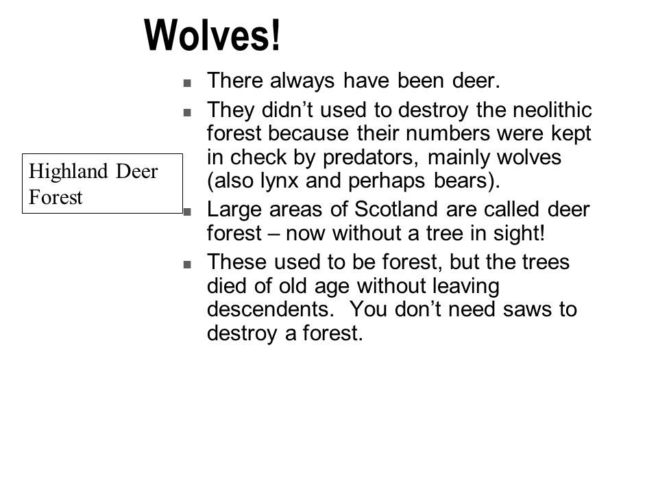 Wolves! There always have been deer.