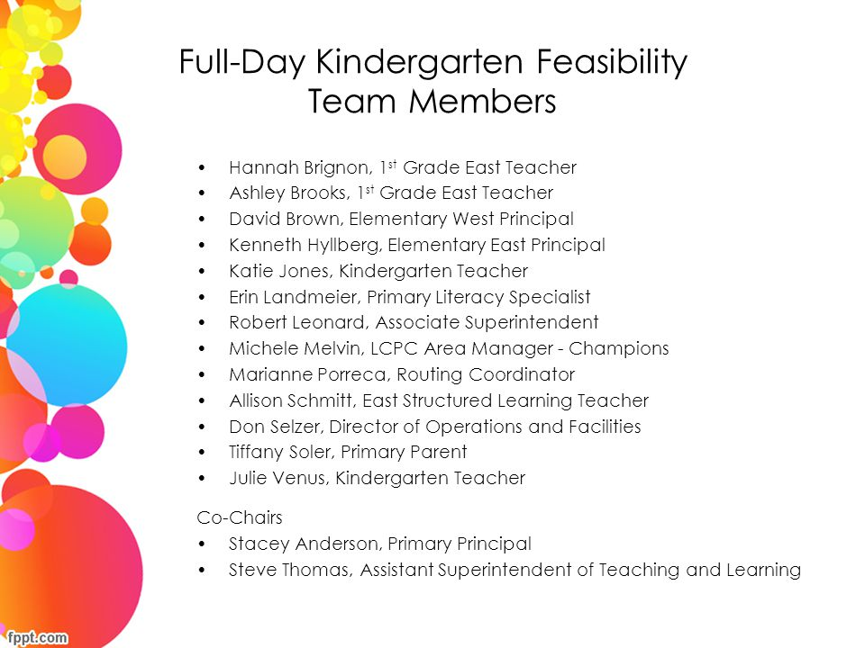 Full-Day Kindergarten Feasibility Team Members