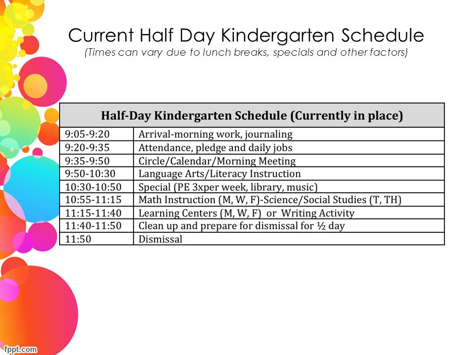 Current Half Day Kindergarten Schedule (Times can vary due to lunch breaks, specials and other factors)