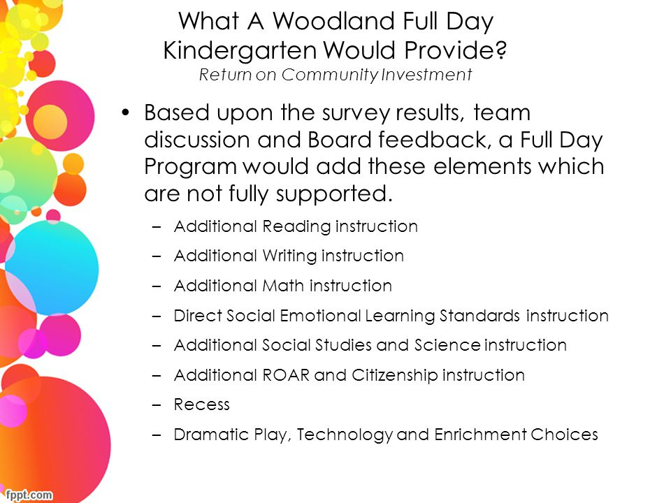 What A Woodland Full Day Kindergarten Would Provide
