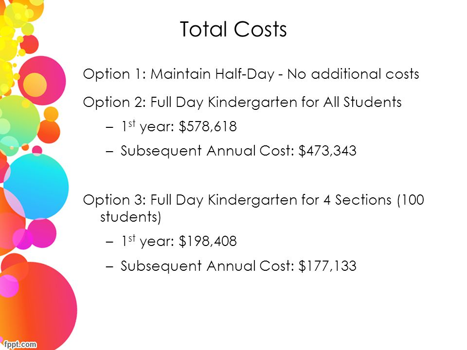 Total Costs Option 1: Maintain Half-Day - No additional costs