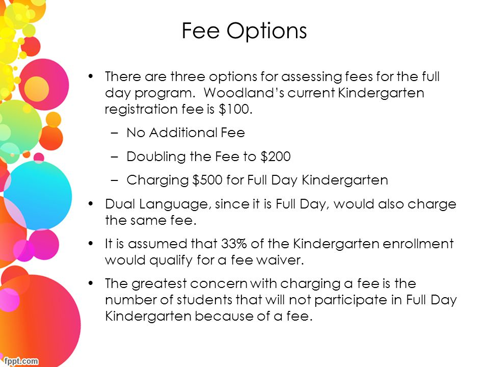 Fee Options There are three options for assessing fees for the full day program. Woodland's current Kindergarten registration fee is $100.