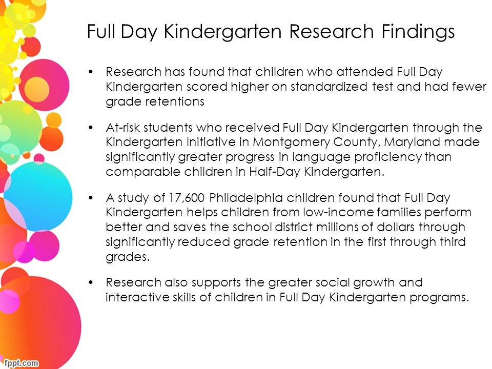 Full Day Kindergarten Research Findings