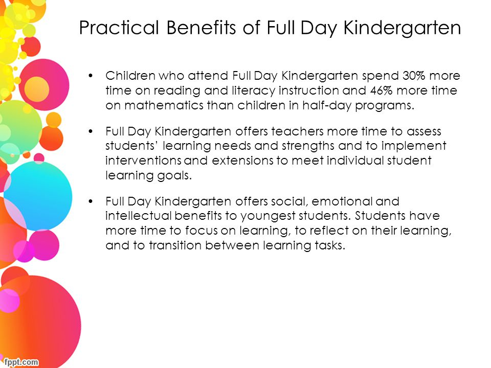 Practical Benefits of Full Day Kindergarten