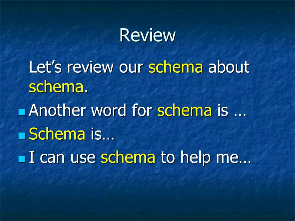 Review Let's review our schema about schema.