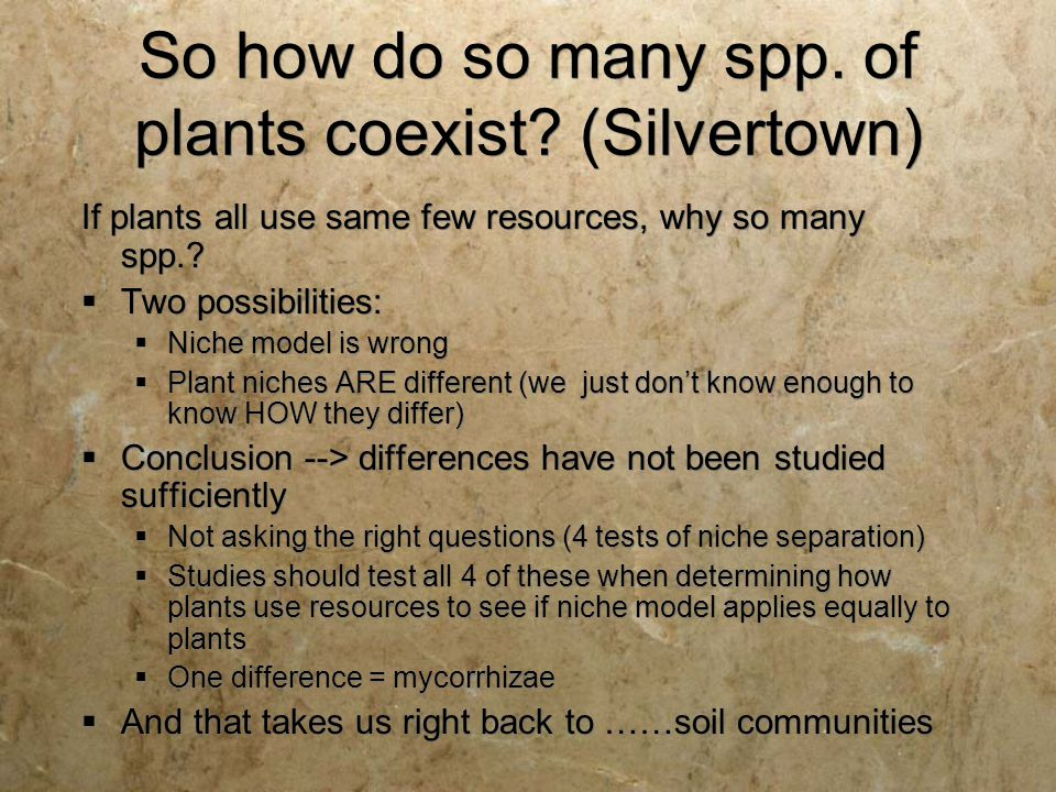 So how do so many spp. of plants coexist (Silvertown)