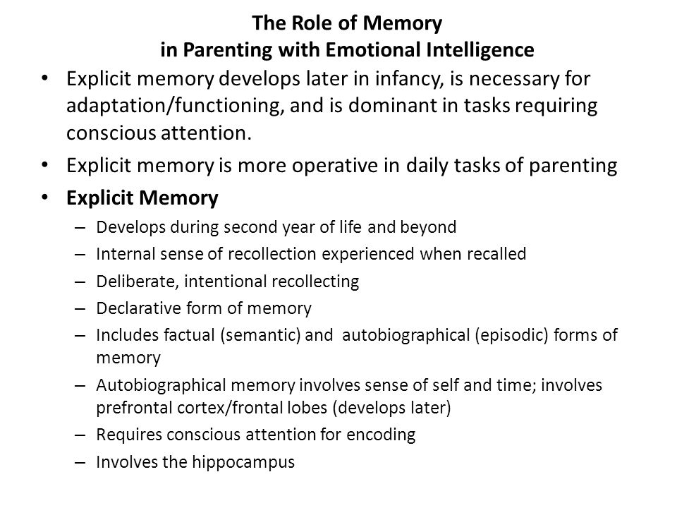 The Role of Memory in Parenting with Emotional Intelligence