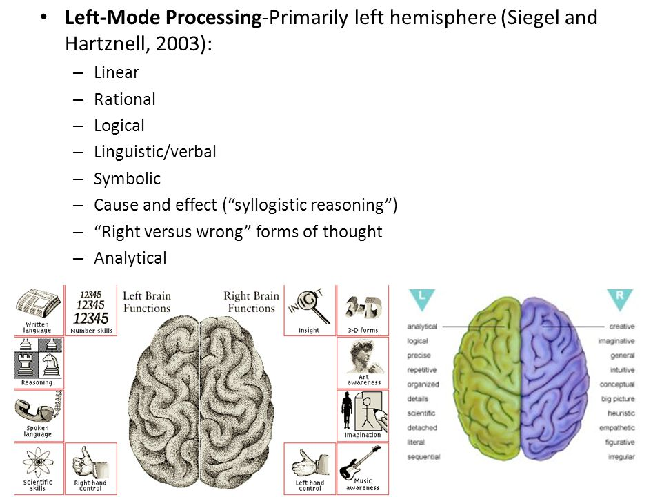 Left-Mode Processing-Primarily left hemisphere (Siegel and Hartznell, 2003):