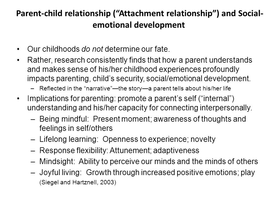 Parent-child relationship ( Attachment relationship ) and Social-emotional development