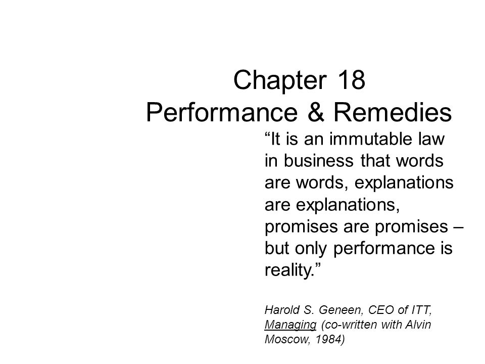 Chapter 18 Performance & Remedies