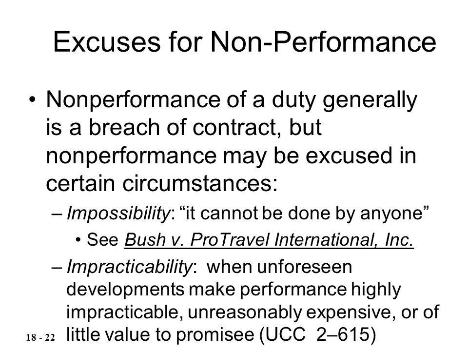 Excuses for Non-Performance