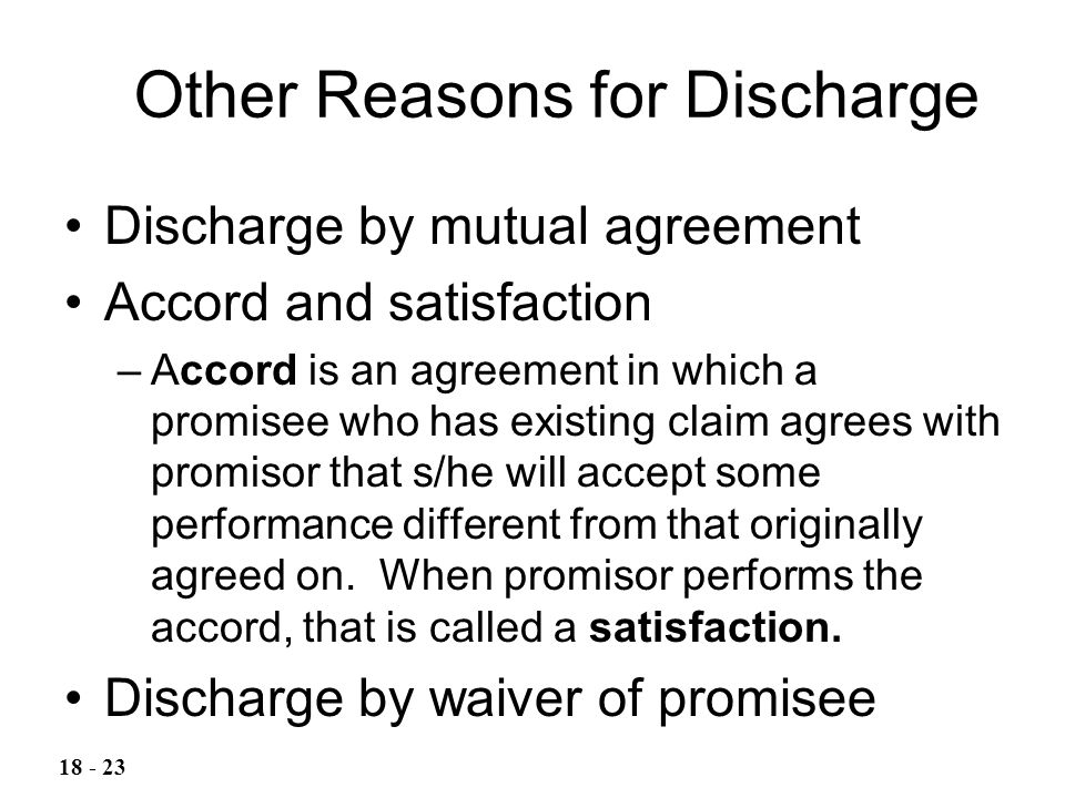 Other Reasons for Discharge