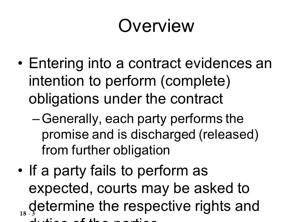 Overview Entering into a contract evidences an intention to perform (complete) obligations under the contract.