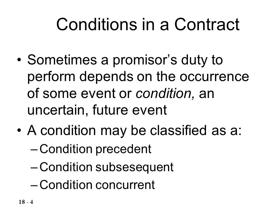 Conditions in a Contract