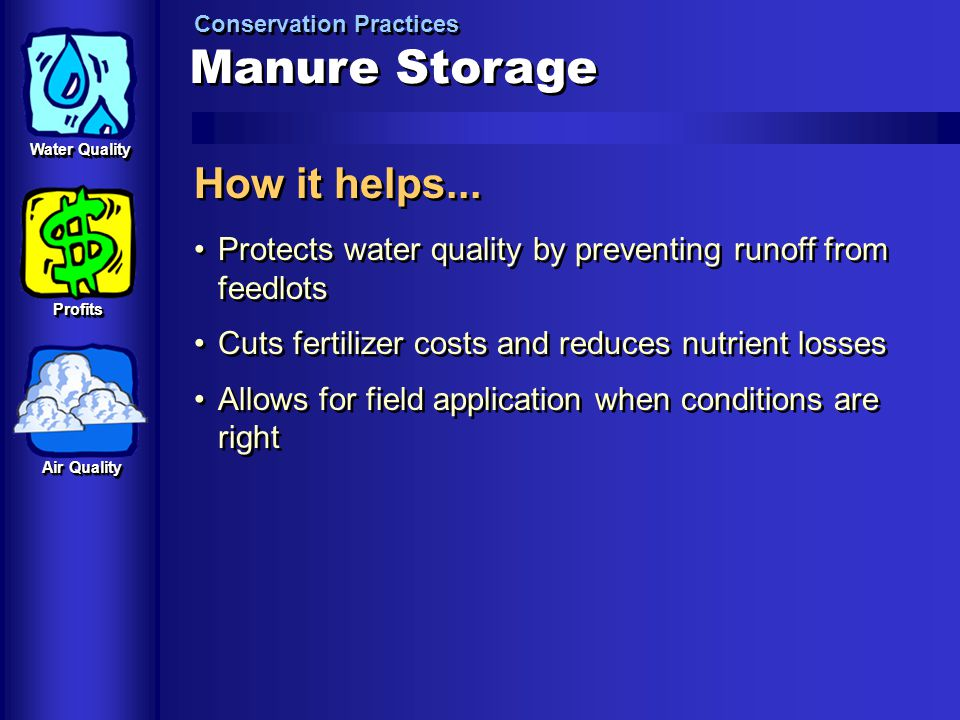 Manure Storage How it helps...