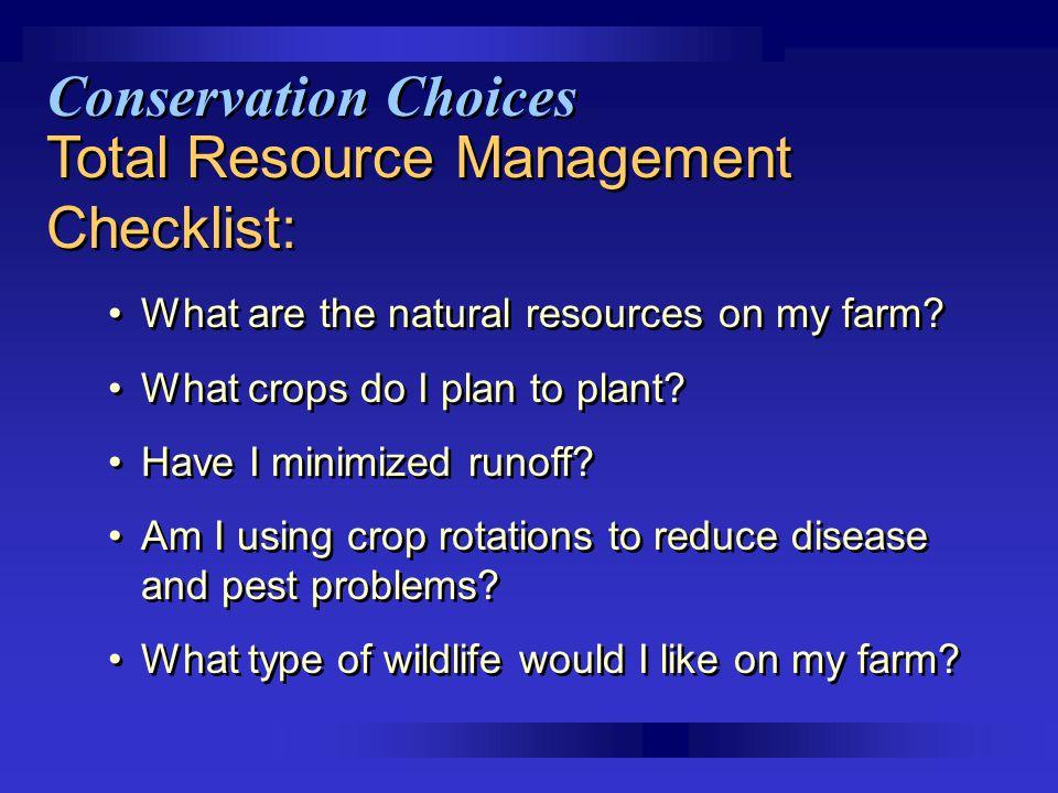 Total Resource Management Checklist: