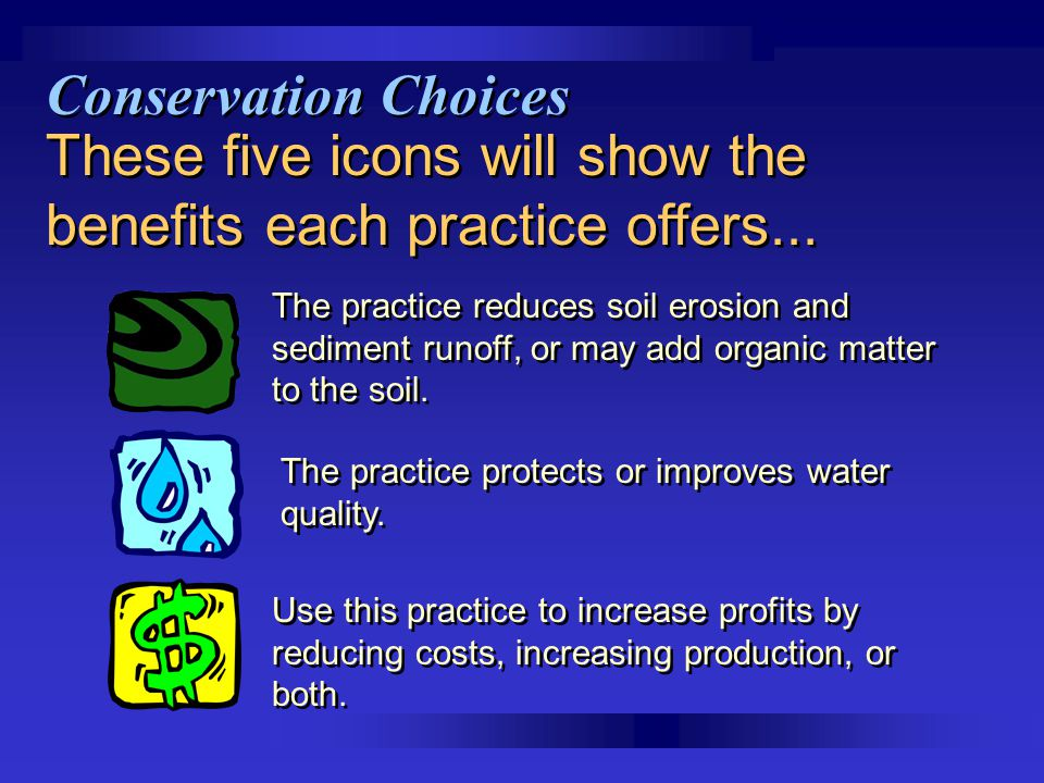 These five icons will show the benefits each practice offers...