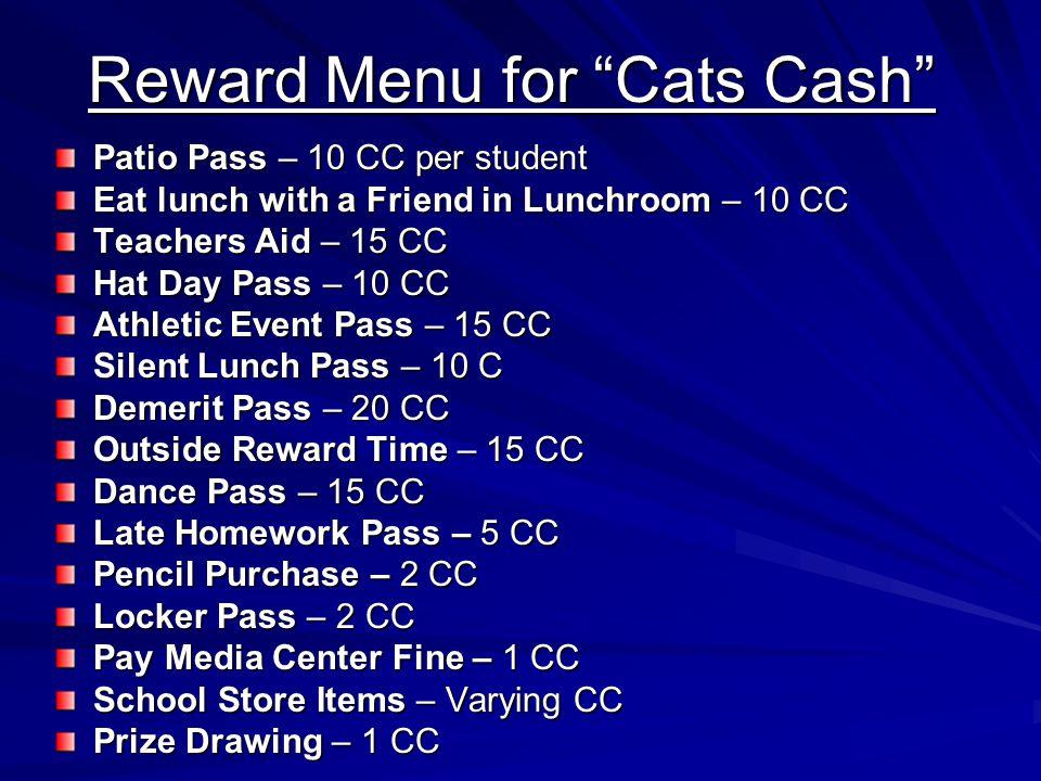 Reward Menu for Cats Cash
