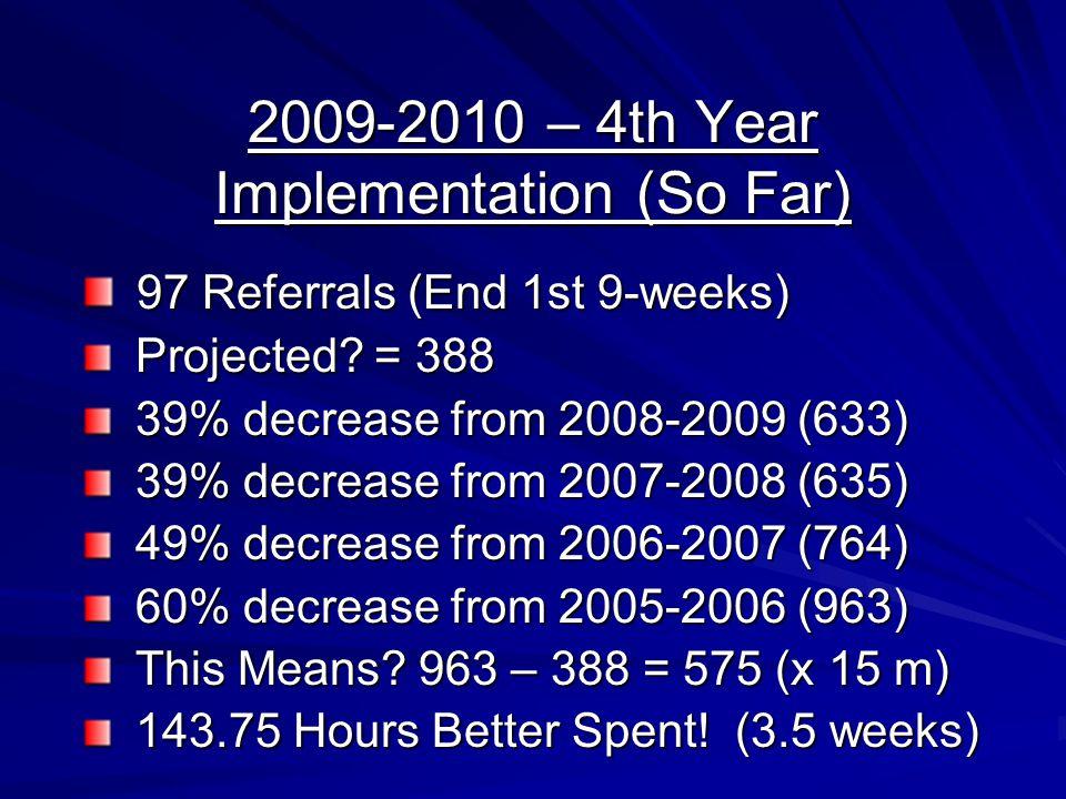 2009-2010 – 4th Year Implementation (So Far)
