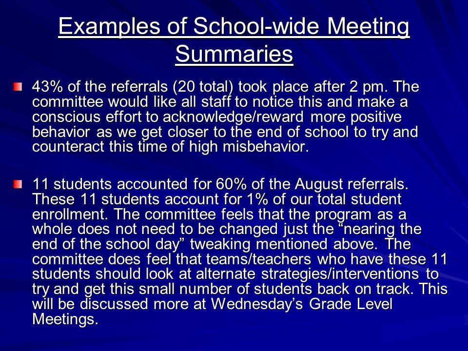 Examples of School-wide Meeting Summaries