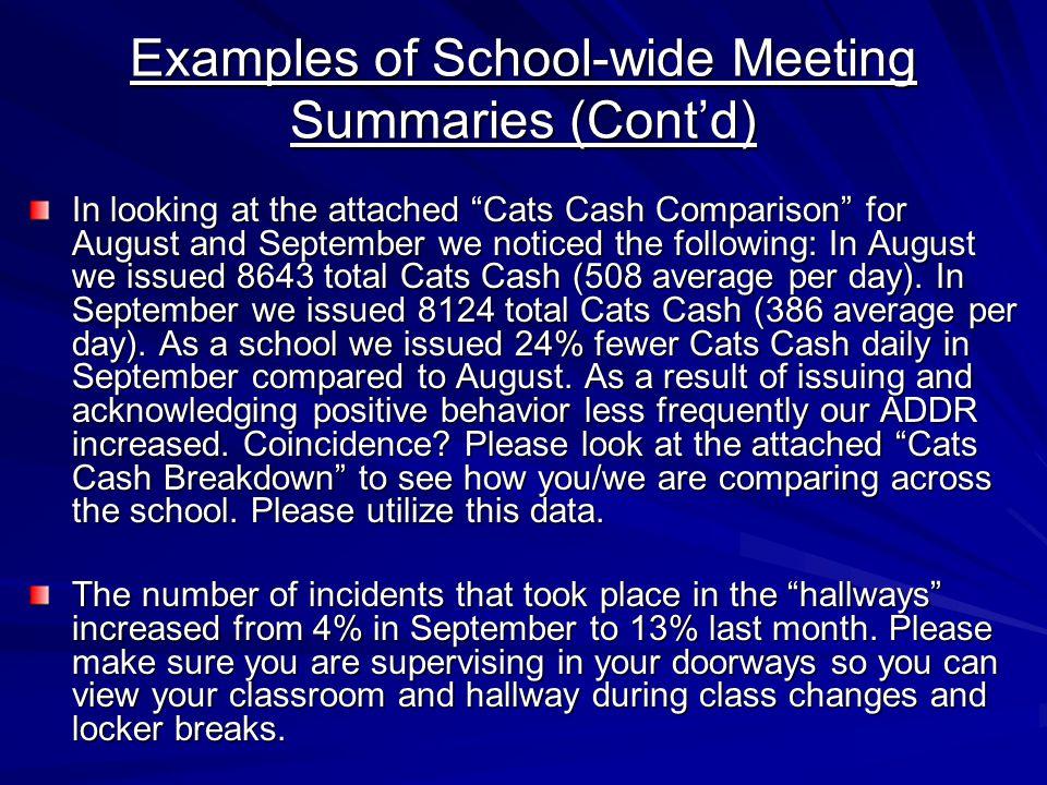 Examples of School-wide Meeting Summaries (Cont'd)