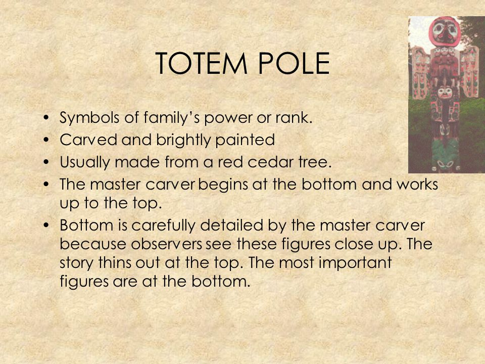 TOTEM POLE Symbols of family's power or rank.
