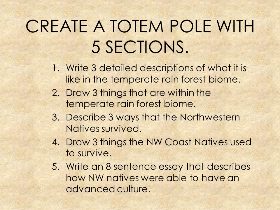 CREATE A TOTEM POLE WITH 5 SECTIONS.