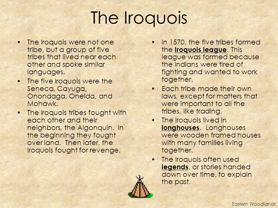 The Iroquois The Iroquois were not one tribe, but a group of five tribes that lived near each other and spoke similar languages.