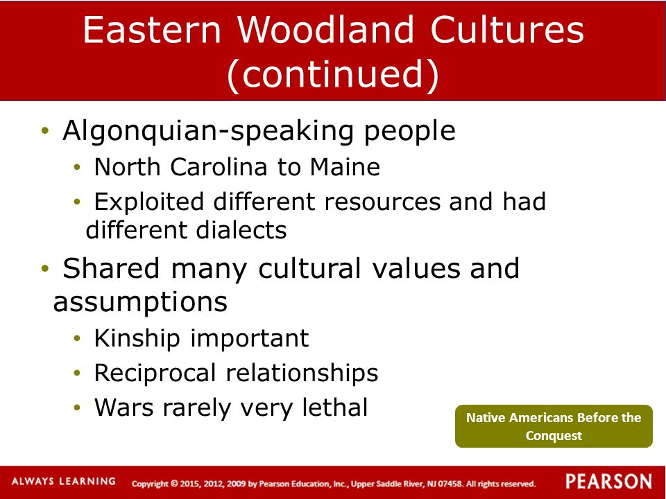 Eastern Woodland Cultures (continued)