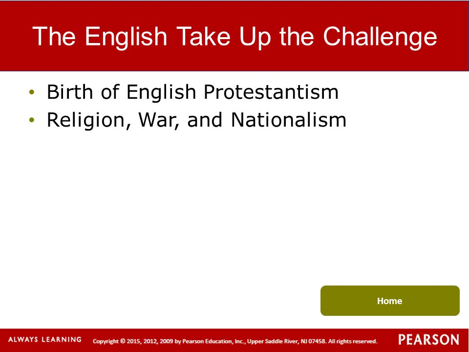 The English Take Up the Challenge
