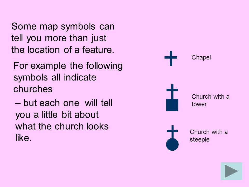 For example the following symbols all indicate churches