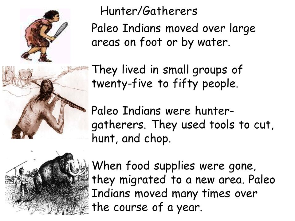 Hunter/Gatherers Paleo Indians moved over large areas on foot or by water. They lived in small groups of twenty-five to fifty people.