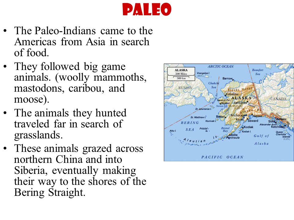 Paleo The Paleo-Indians came to the Americas from Asia in search of food.