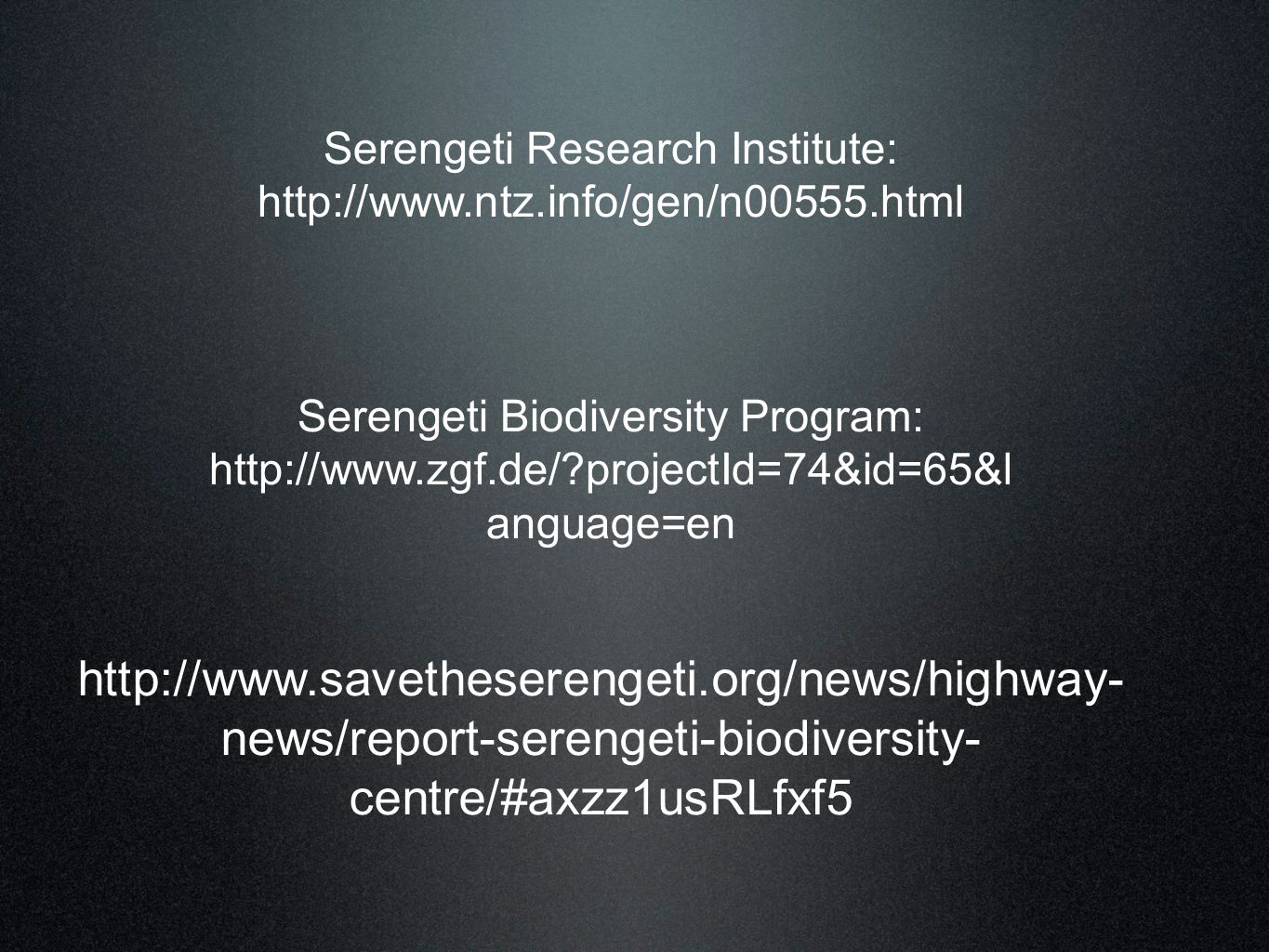 Serengeti Research Institute: