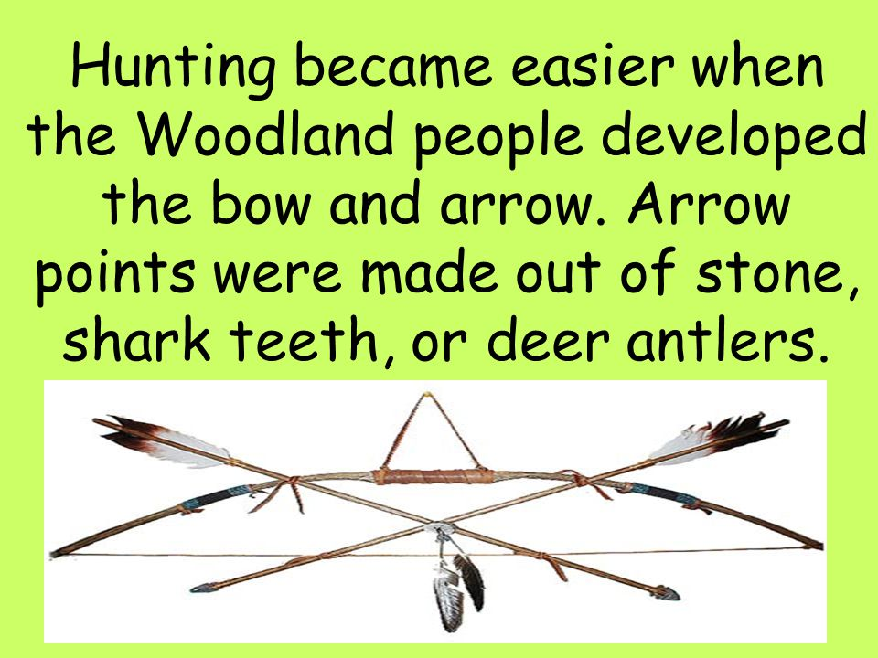 Hunting became easier when the Woodland people developed the bow and arrow.