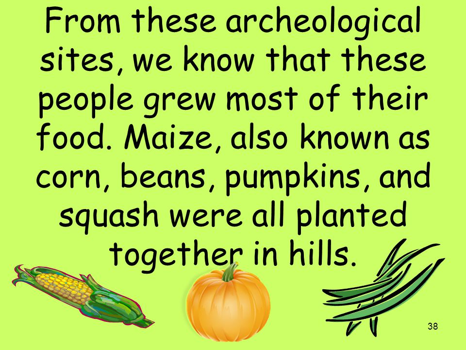 From these archeological sites, we know that these people grew most of their food.