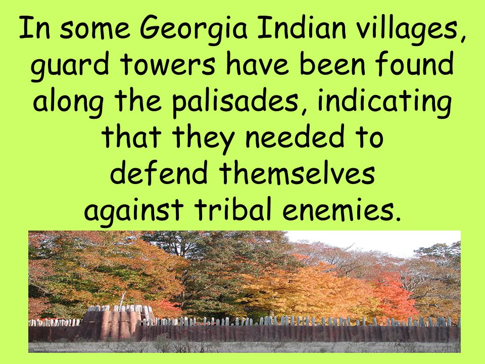 In some Georgia Indian villages, guard towers have been found along the palisades, indicating that they needed to defend themselves against tribal enemies.