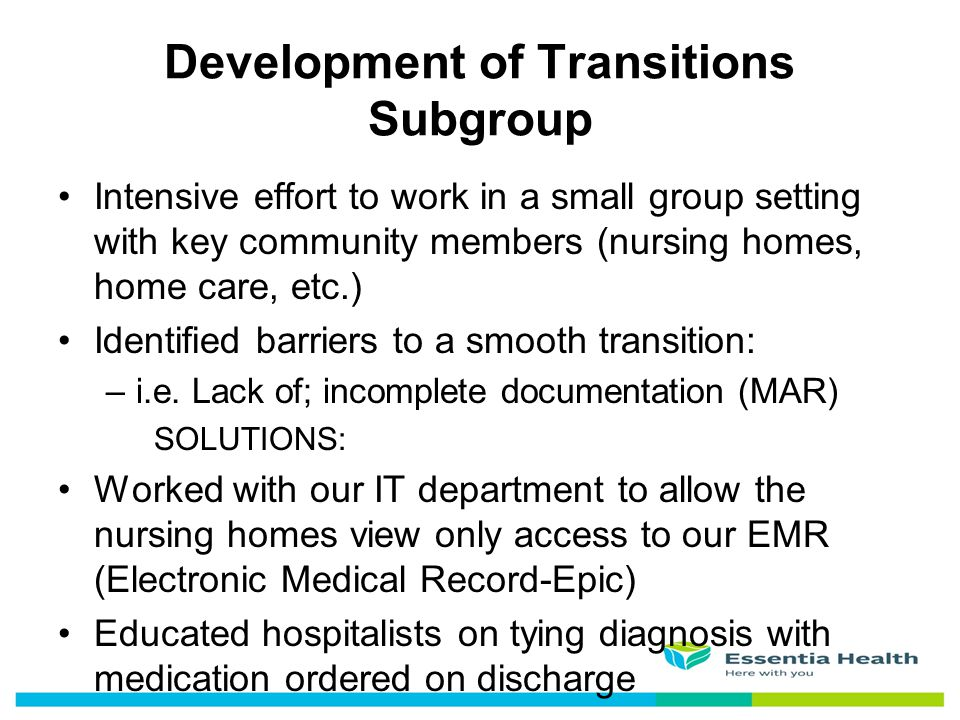 Development of Transitions Subgroup