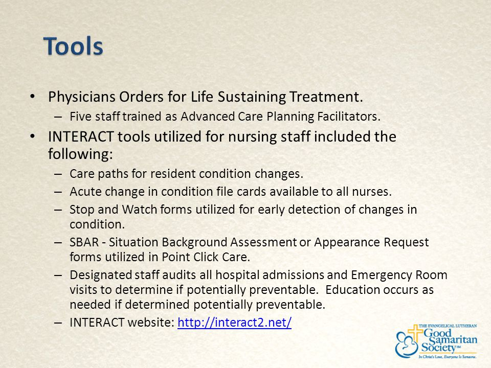 Tools Physicians Orders for Life Sustaining Treatment.
