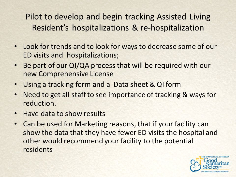 Pilot to develop and begin tracking Assisted Living Resident's hospitalizations & re-hospitalization