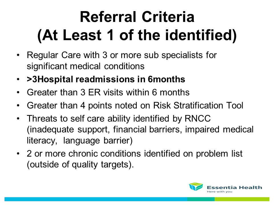 Referral Criteria (At Least 1 of the identified)