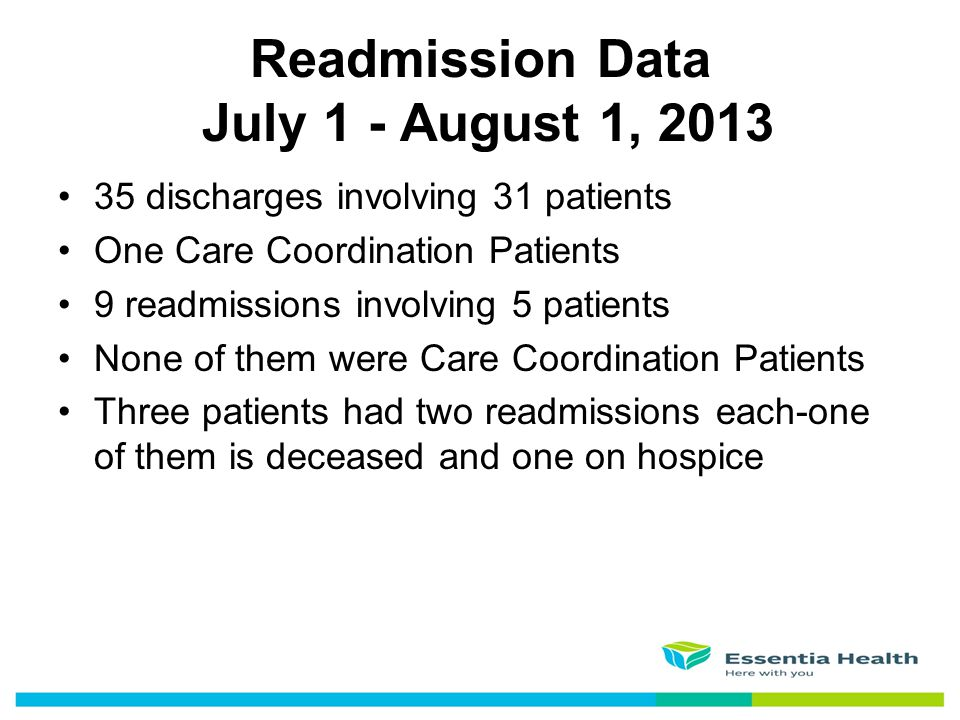 Readmission Data July 1 - August 1, 2013