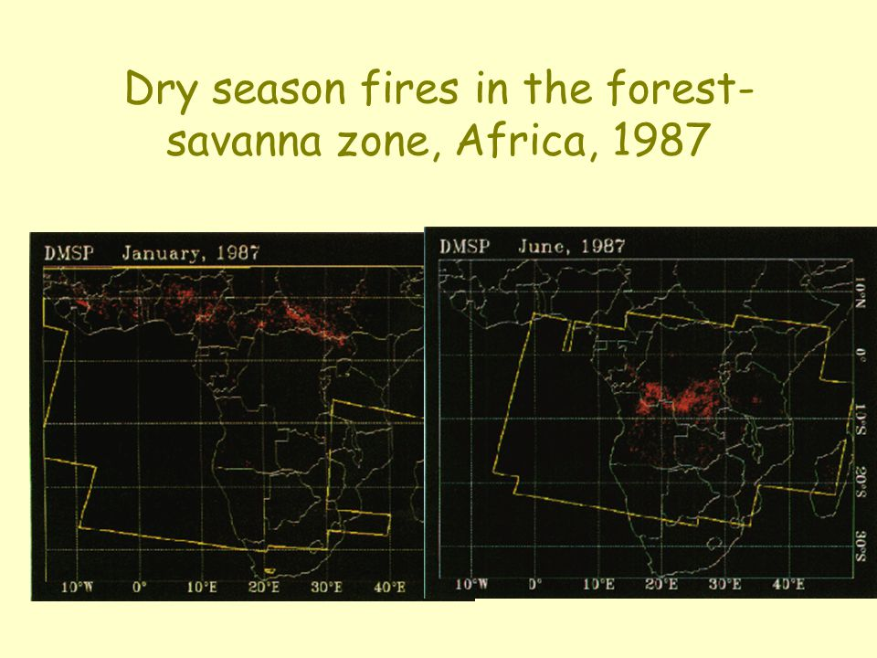 Dry season fires in the forest-savanna zone, Africa, 1987