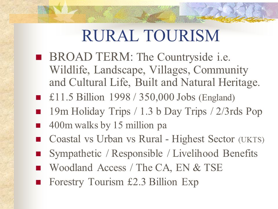 RURAL TOURISM BROAD TERM: The Countryside i.e. Wildlife, Landscape, Villages, Community and Cultural Life, Built and Natural Heritage.