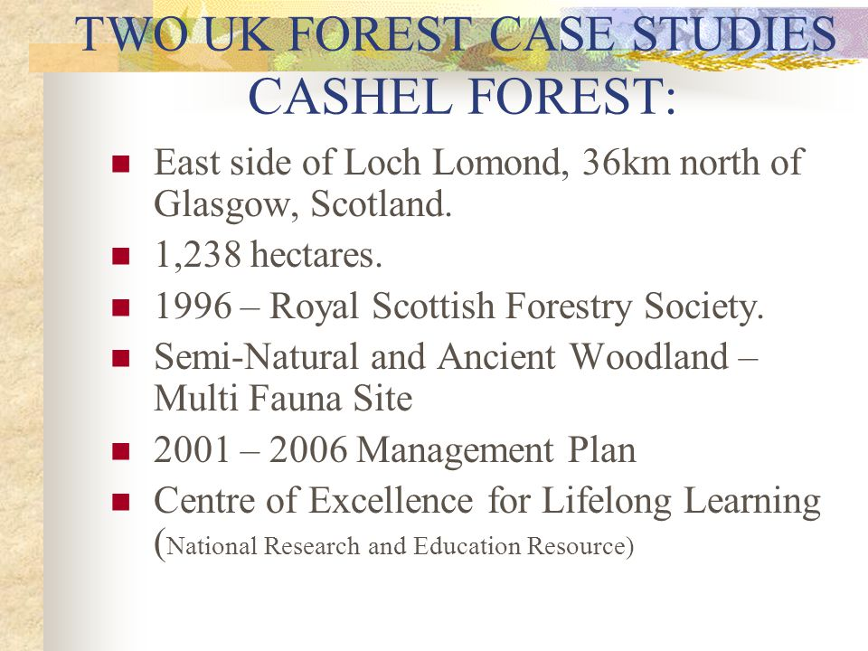 TWO UK FOREST CASE STUDIES CASHEL FOREST: