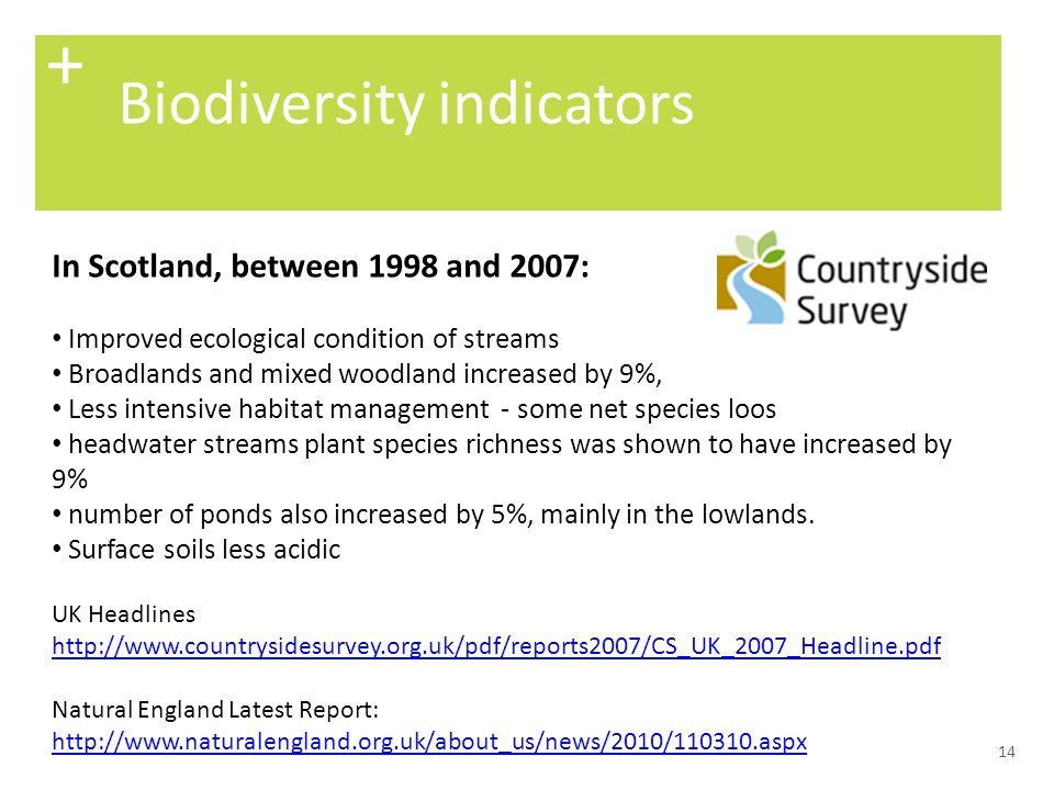 + Biodiversity indicators In Scotland, between 1998 and 2007: