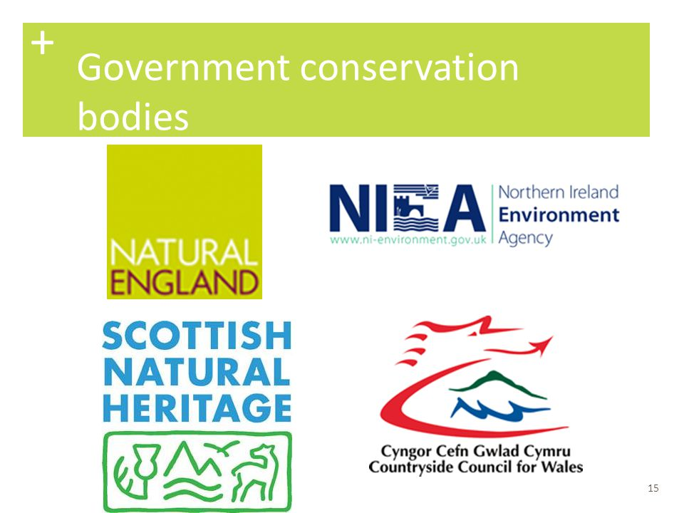 + Government conservation bodies