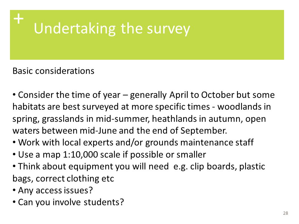 + Undertaking the survey Basic considerations