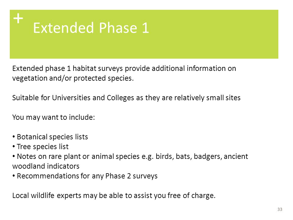 + Extended Phase 1. Extended phase 1 habitat surveys provide additional information on vegetation and/or protected species.