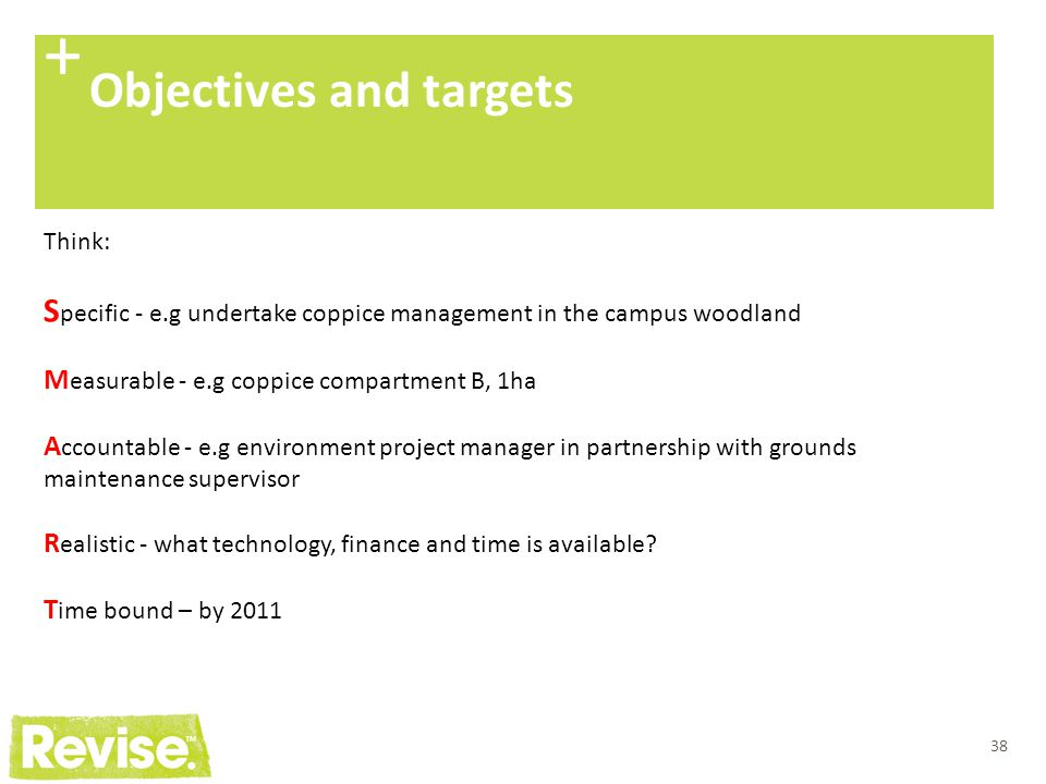 + Objectives and targets